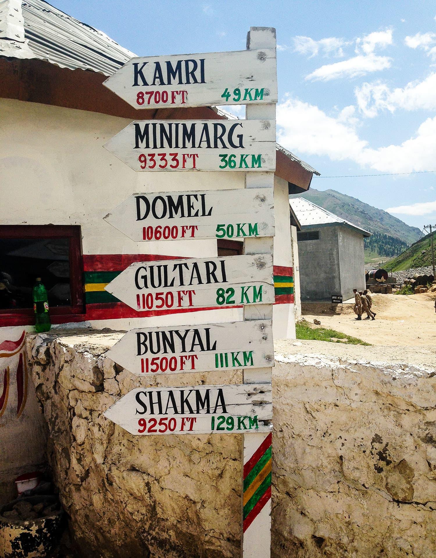 A signpost at Chilam.