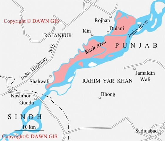 A map of the Rajanpur area. ─ Dawn GIS