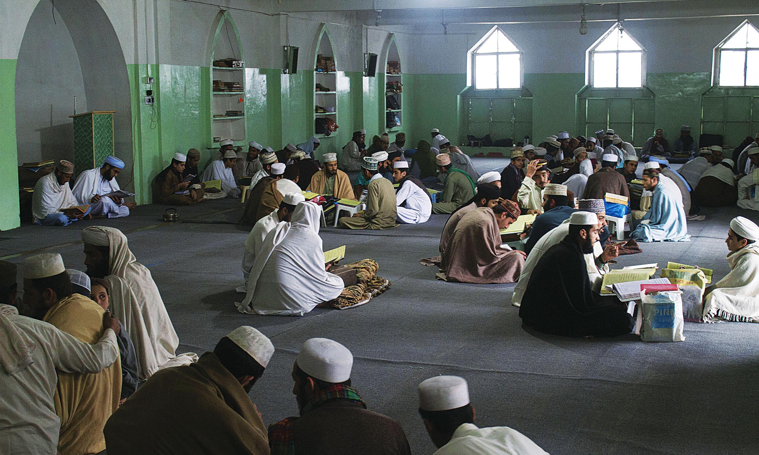 Students at Jamia Junaidiyah Ghafooriyah, a Barelvi madrasa in Peshawar