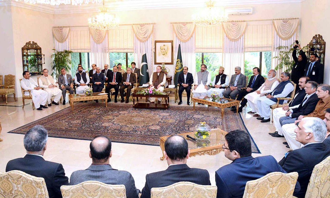 Nawaz Sharif meets members of the Federal Cabinet at PM House. —APP
