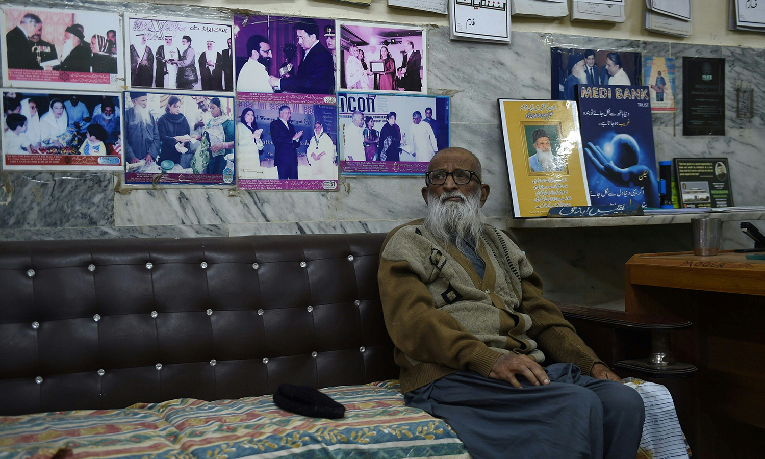 Abdul Sattar Edhi sits in his office. – AFP