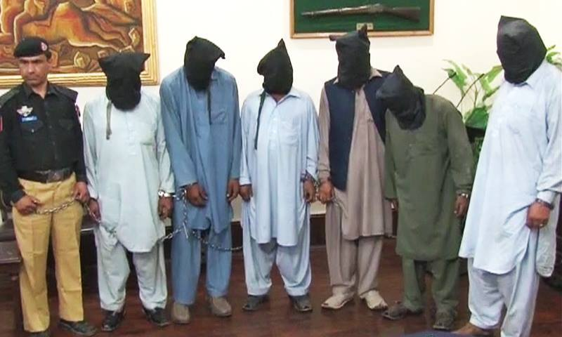 The six suspects arrested in connection with Singh's murder. — DawnNews screengrab