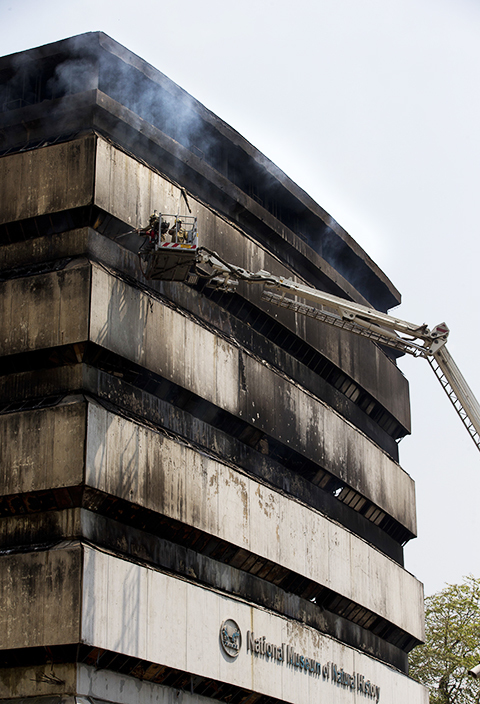 Delhi Fire officials put out a fire in the National Museum of Natural History in New Delhi. ─ AP