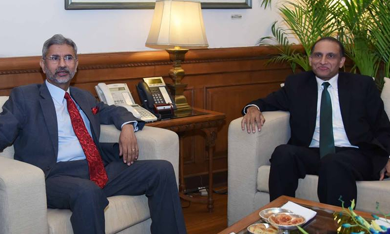 India and Pakistan foreign secretaries during the meeting in New Delhi.─ Indian MEA Facebook page