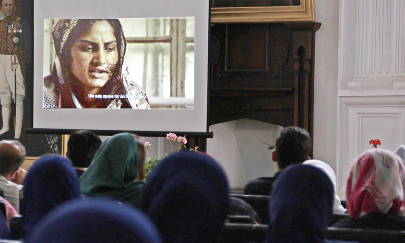 Students watch the documentary at Islamia College University, Peshawar, on Tuesday. — White Star