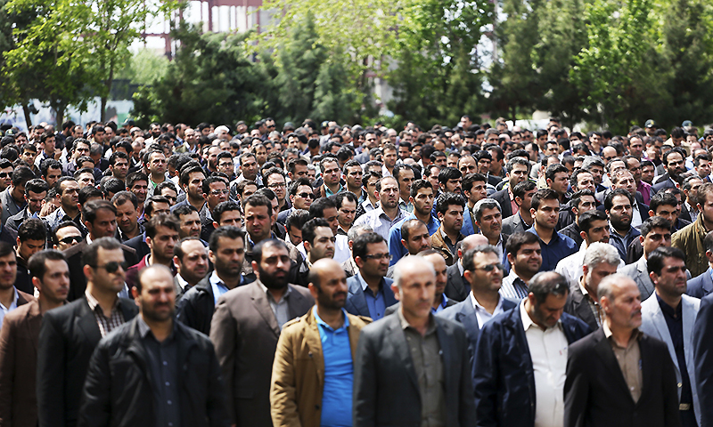 In this picture made available by Young Journalists Club on Monday, April 18, 2016, Iranian plainclothes police officers stand in an inauguration ceremony of a newly established undercover division of the morality police at the Tehran police department. ─ AP