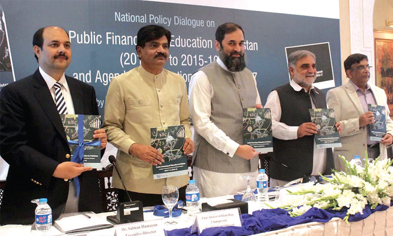 Minister of State for Education and Professional Training Balighur Rehman and other speakers pose with the report on Wednesday. — INP