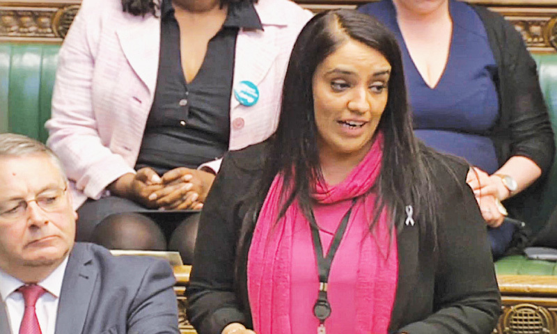 LONDON: Naz Shah makes a statement in the House of Commons.—AP