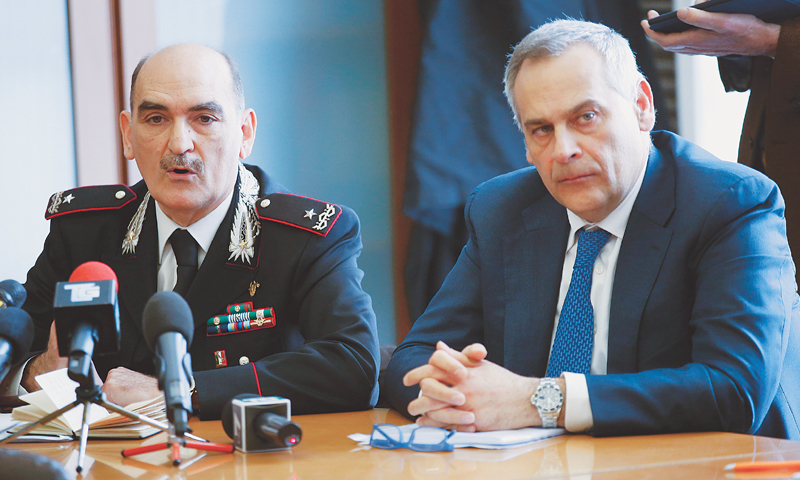 Milan: Chief of ROS (Special Operations Group) Giuseppe Governale (left) sits by head of anti-terrorism unit Lamberto Giannini, during a news conference to illustrate an anti-terrorism operation here on Thursday.—AP