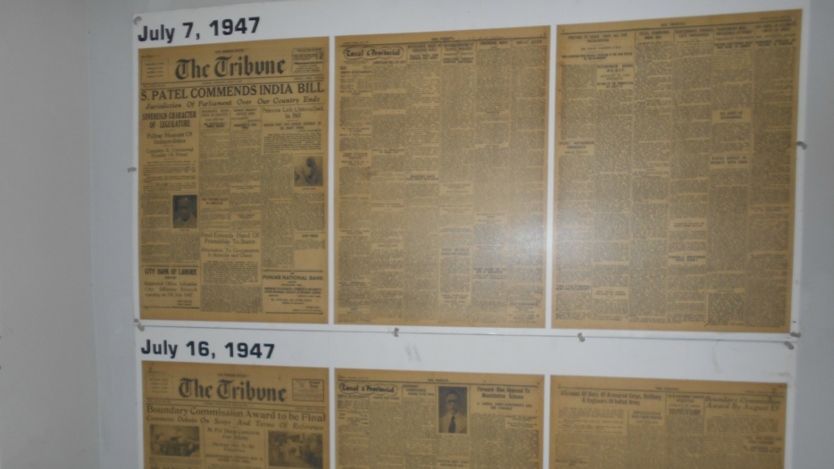 Displayed on the walls of the Museum of Peace are issues  of 'Tribune', published shortly before Partition