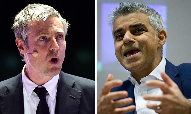 A combination of pictures created on April 30, 2016 shows British Conservative Party London mayoral candidate Zac Goldsmith (L) speaking during a London Mayoral Accountability Assembly at the Queen Elizabeth Olympic Park in London on April 28, 2016 and opposition Labour party candidate for Mayor of London Sadiq Khan (R) speaking during the 'London Tomorrow: Shaping Future Cities' event in London on January 28, 2016. ─ AFP/File