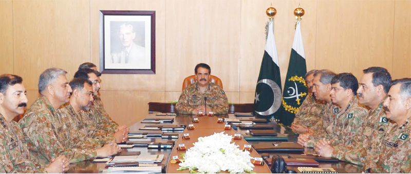 RAWALPINDI: Chief of Army Staff Gen Raheel Sharif presides over the Corps Commanders Conference held at the General Headquarters here on Monday.—PPI