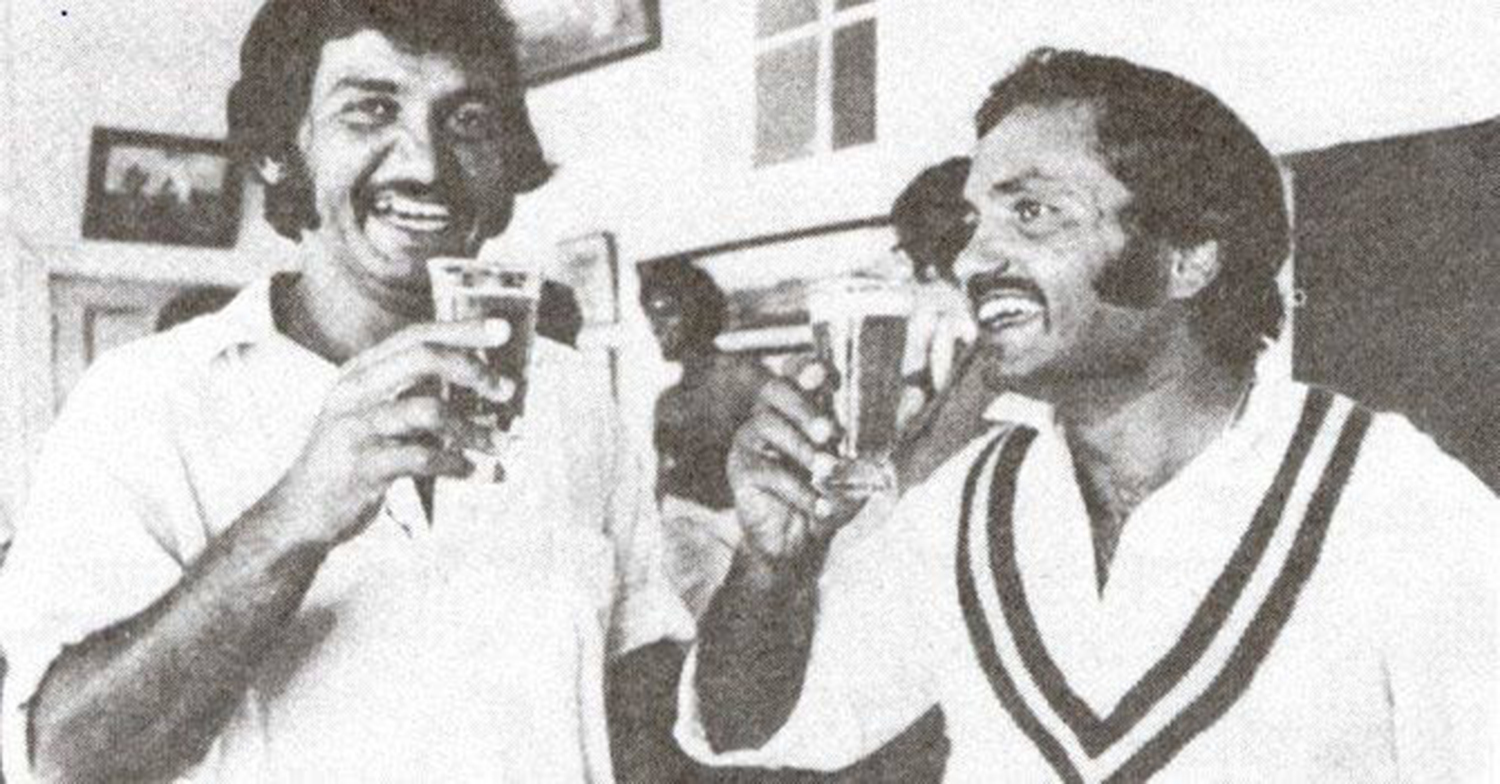 Post-match celebrations 2: Sadiq and Mushtaq cheer the victory with a pint each.