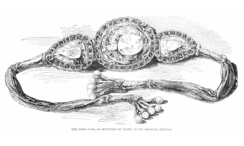 Clockwise (from top of the page): A portrait of Maharaja Duleep Singh commissioned by Queen Victoria; the Koh-i-noor diamond in the coronation crown of the Queen Mother; Queen Alexandra wearing her coronation crown on Aug 9, 1902; Koh-i-noor as orginally set in a bazuband;  a portrait of Maharajah Ranjit Singh in watercolour and pencil -Courtesy of Illustrated London News, 1851