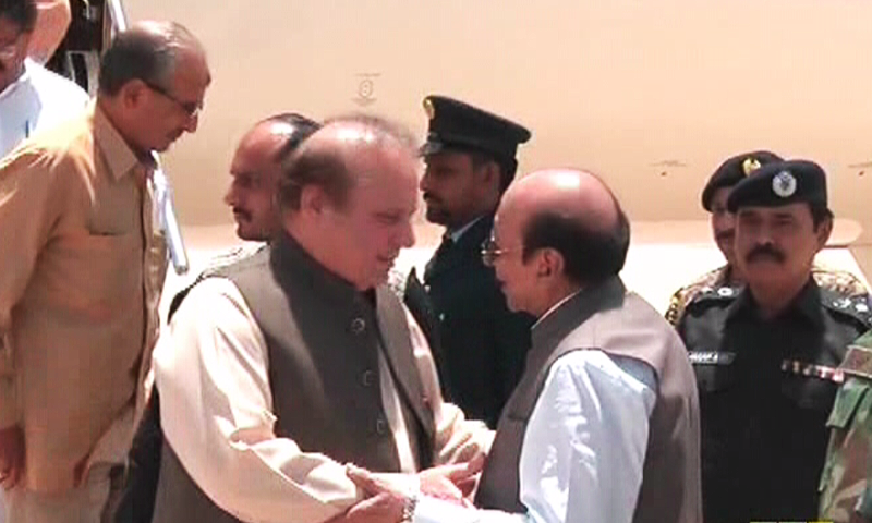 PM Nawaz meets Sindh CM Qaim Ali Shah. ─ DawnNews