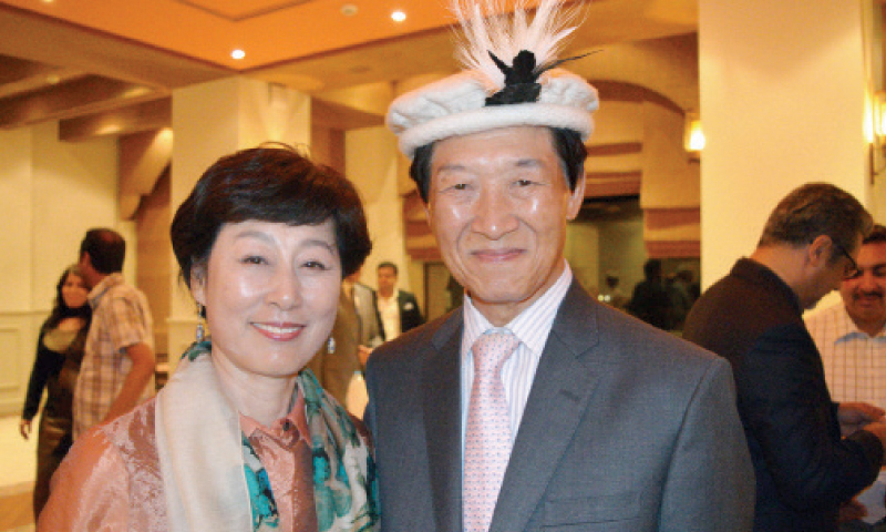 South Korean Ambassador Dr Song Jong-hwan and his wife at a farewell dinner given by the Gandhara Art and Culture Association in Islamabad.