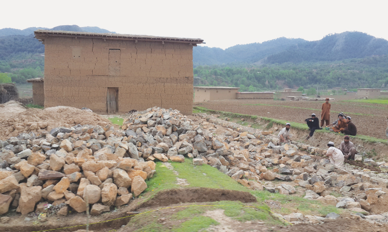A house, destroyed by the TTP when it occupied the Tirah Valley in 2013, is being rebuilt on a self-help basis.—Photo by writer
