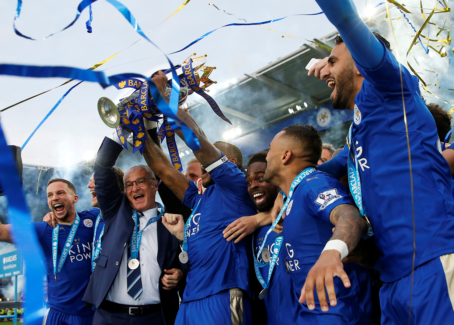The biggest cheers reserved for star players Jamie Vardy, Riyad Mahrez and N'Golo Kante. — Reuters