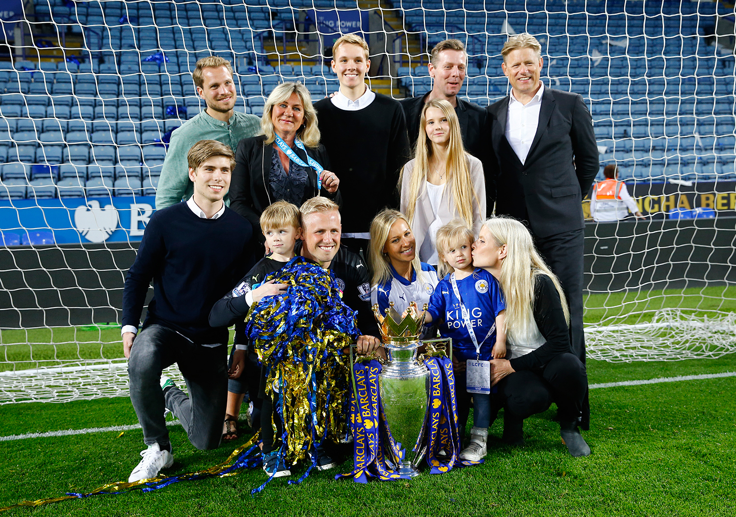 Leicester goalkeeper Kasper Schmeichel poses with his father, former Manchester United goalkeeper Peter Schmeichel and their family. — Reuters