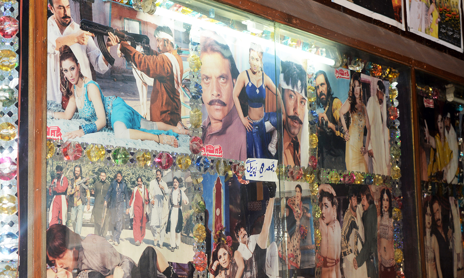 A photoset displayed at a cinema in Peshawar — Photo by author
