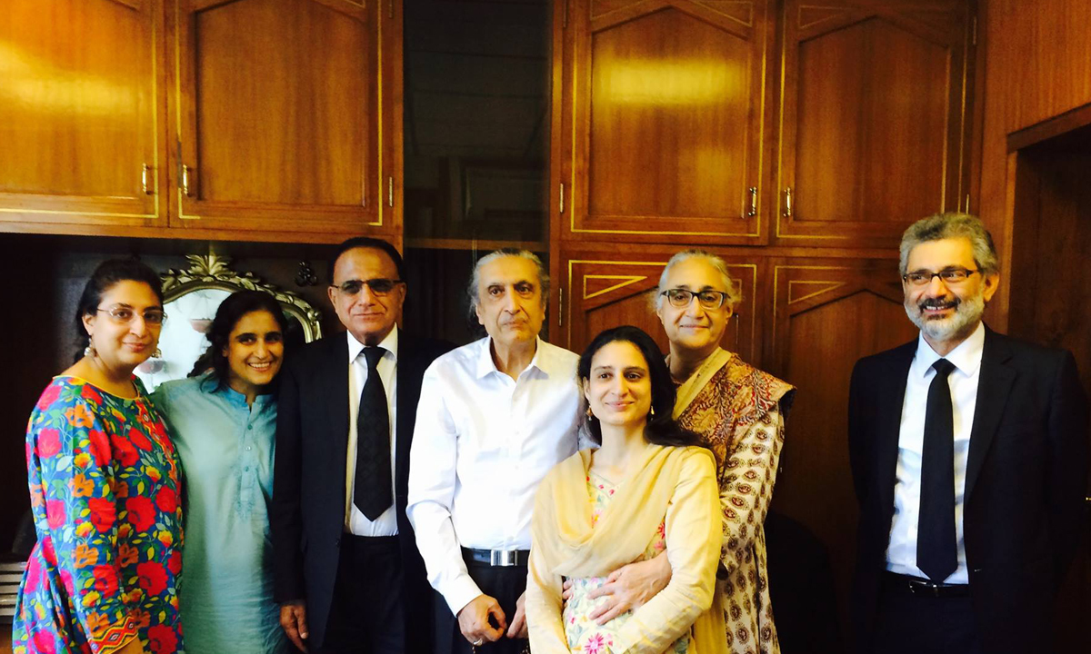 Justice Khawaja with his family members, Justice Dost Muhammad Khan and Justice Qazi Faez Isa | Courtesy Justice Khawaja