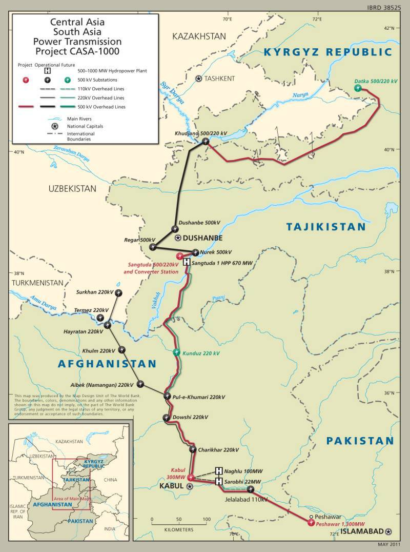 A map showing the proposed route for the CASA-1000 transmission line. ─ Radio Pakistan