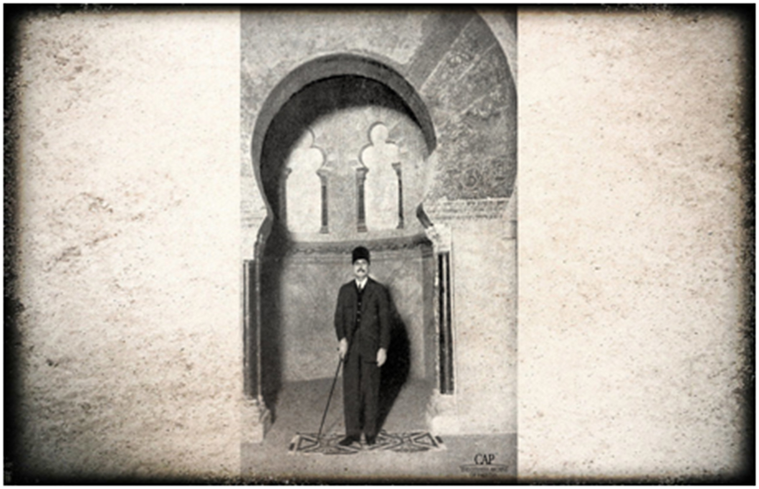 Iqbal in the mehrab of the mosque of Cordoba.