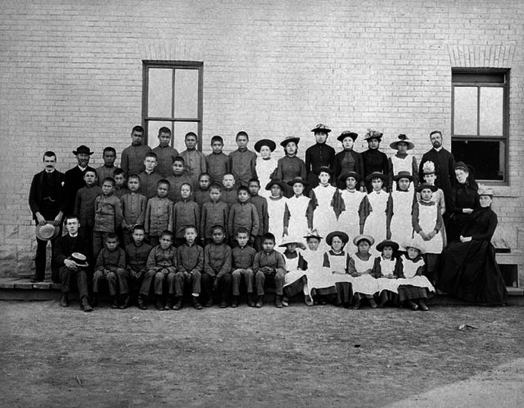 St. Paul's Indian Industrial School, Manitoba in 1901. ─ Library and Archives Canada