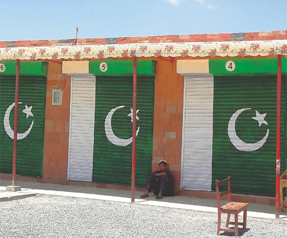 A VIEW of a market built by Pakistan Army at Shakai-Tiarza area in South Waziristan.—Dawn