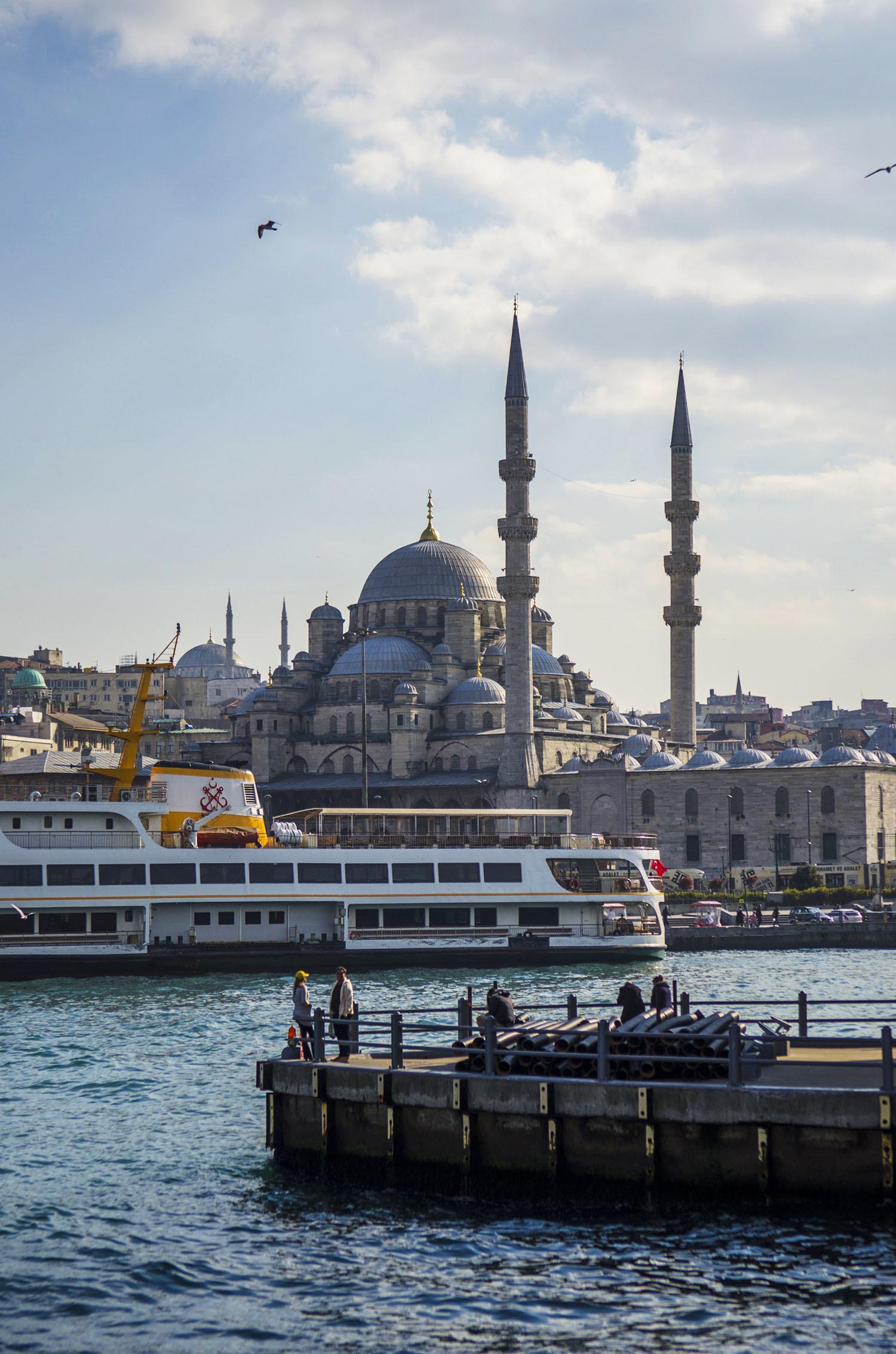 The Suleymaniye mosque as seen from Galata Bridge.