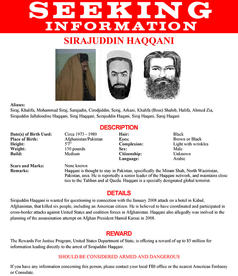 The wanted poster issued by the US Federal Bureau of Investigation for Sirajuddin Haqqani is seen in an undated handout photo.