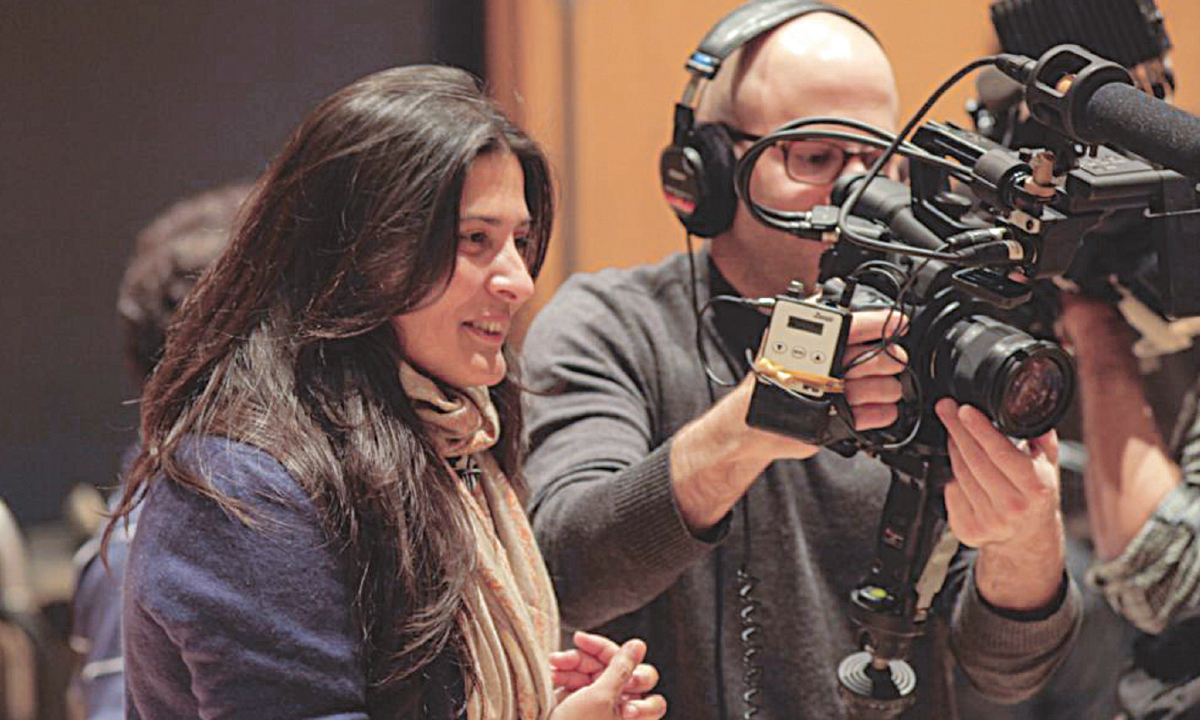 Sharmeen Obaid-Chinoy shooting the film Song of Lahore | Courtesy SOC Films