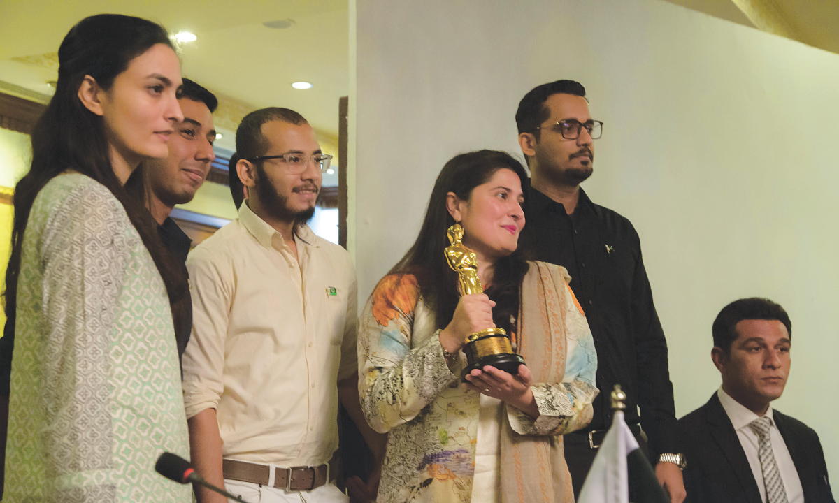 Sharmeen Obaid-Chinoy with her team during a press conference in Karachi after the Oscar win for A Girl in the River  Courtesy SOC Films