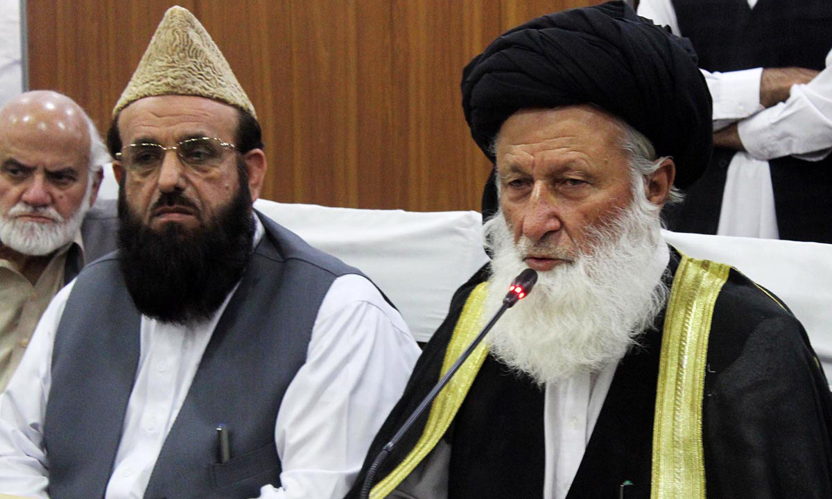 Council of Islamic Ideology Chairman Maulana Sherani addressing a press conference at the council office. ─ Online