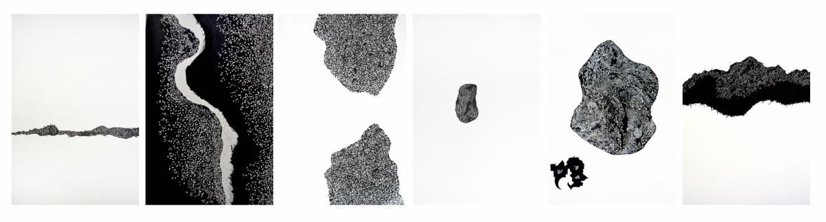 Amal (hexaptych), Raazia Batool, Iranian ink & gouache on Arches paper, 46 x 33 cm (each), 2016 (6)
