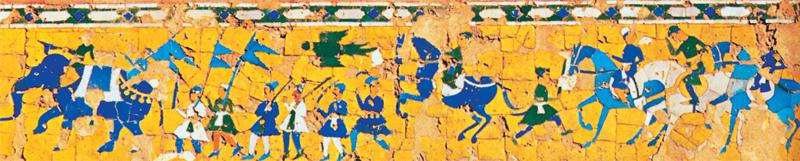 A panel of cut-tile mosaic representing a triumphal procession