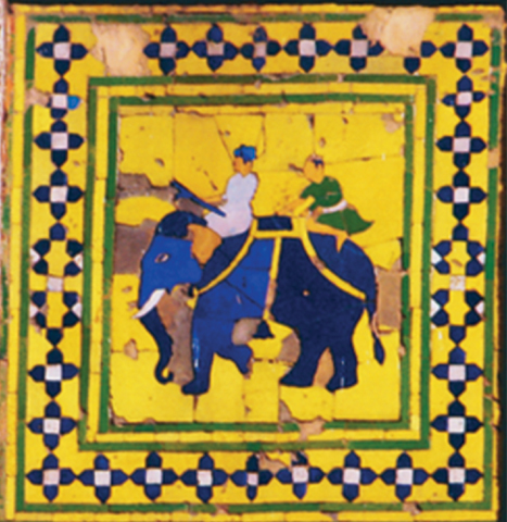 Mosaic tiles on the 'Picture Wall' of the Shahi Qila depicting an elephant mounted by mahouts