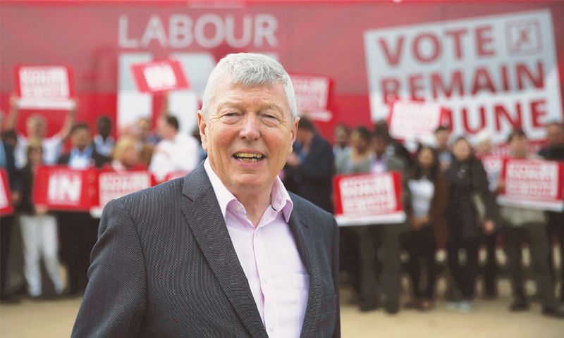 LABOUR MP Alan Johnson with his supporters during a 'Labour In for Britain' campaign event in London on Sunday. —Reuters