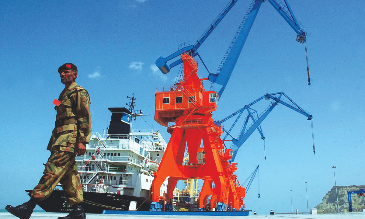 A guard keeps watch at Gwadar Port, Balochistan | AP