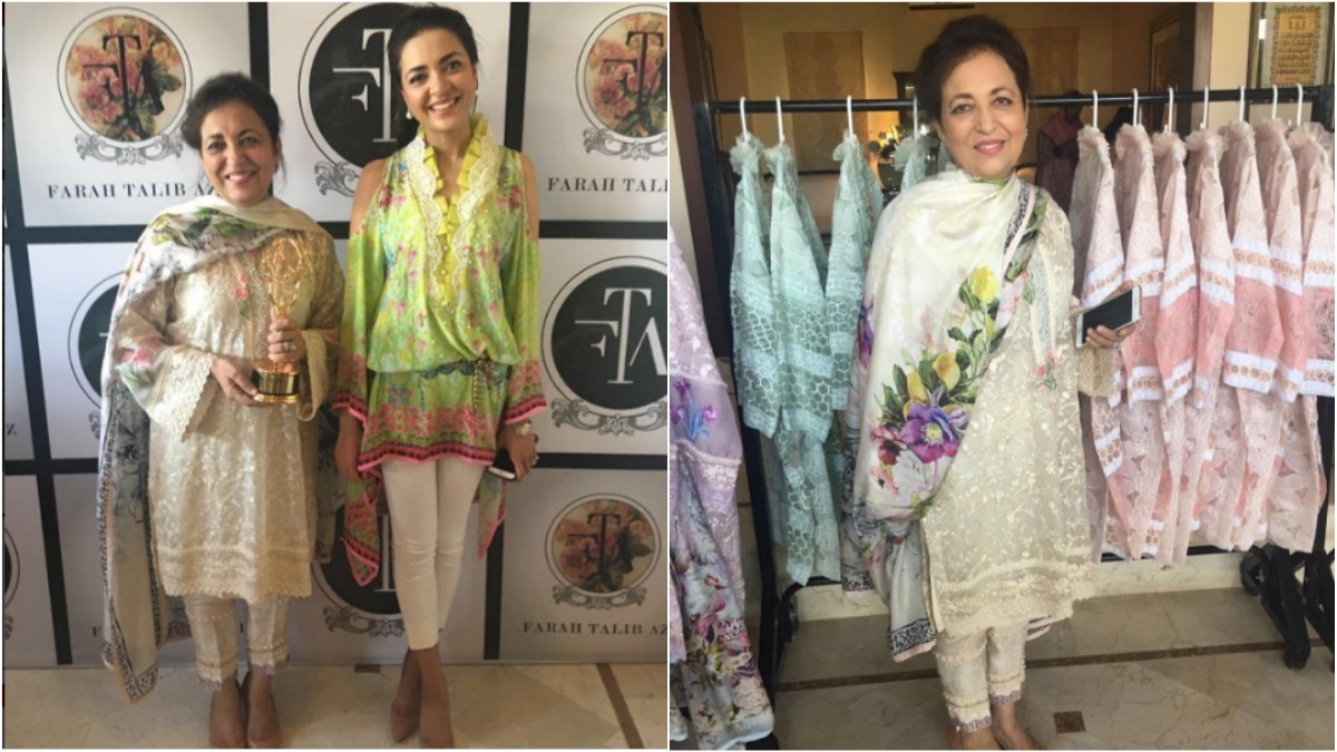 Seen here at their private showing of their Eid collection, Farah Talib Aziz's public exhibition was a knockout the next day