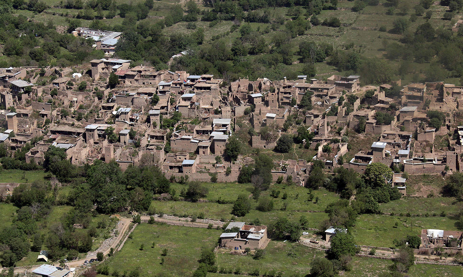 Empty houses whose roofs have been removed by the army during an operation seen in South Waziristan.— AFP