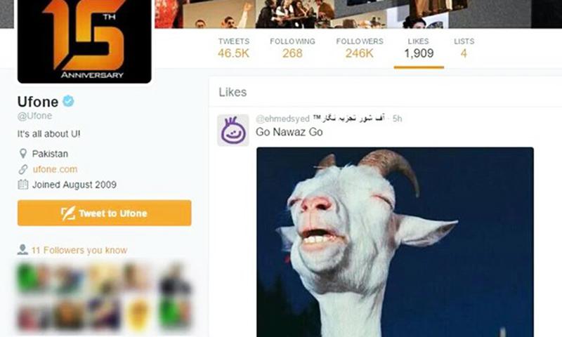 Screenshot of Ufone Twitter account