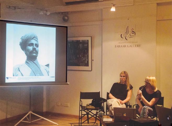 Julia Tieke and Elke Falat speak at T2F.—Photo by writer