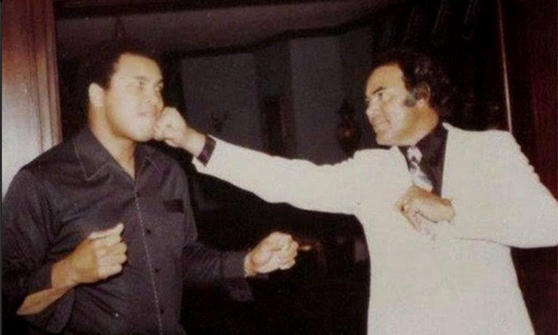 The American Maula Jutt — Muhammad Ali with Pakistani actor Sultan Rahi on Ali's visit to Pakistan. —Photo courtesy of Twitter