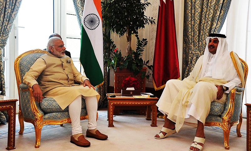 Indian Ministry of External Affairs's Twitter Page, Indian Prime Minister Narendra Modi, left, talks with Emir of Qatar Sheikh Tamim bin Hamad Al Thani, in Doha, Qatar. ─ AP