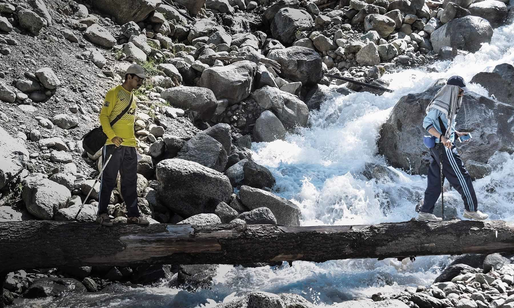 ایک بڑے درخت سے بنایا گیا پل جس کے ذریعے سپین خوڑ جھیل و آبشار تک رسائی حاصل کی جاتی ہے — تصویر امجد علی سحاب