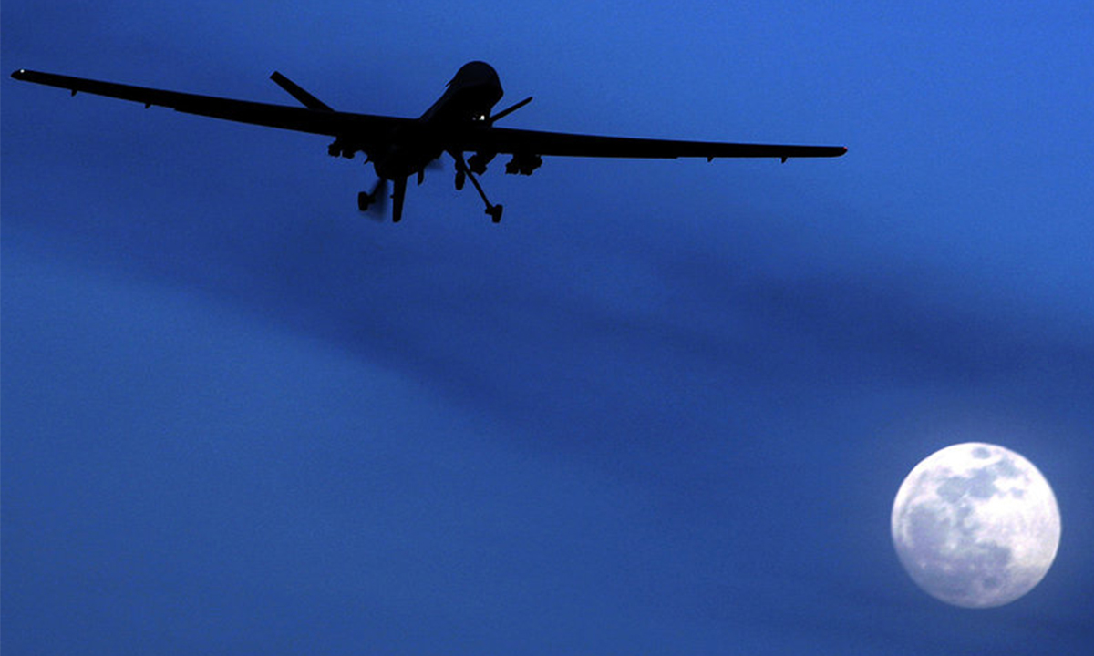 An unmanned US Predator drone flies over Kandahar Air Field, southern Afghanistan, in 2010 | AP
