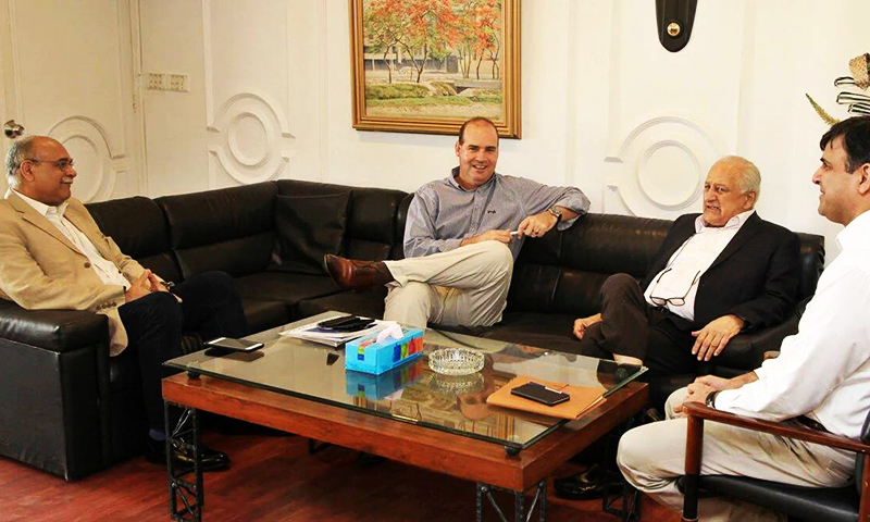 Arthur seen with Najam Sethi, Shaharyar Khan and Subhan Ahmed. ─ DawnNews