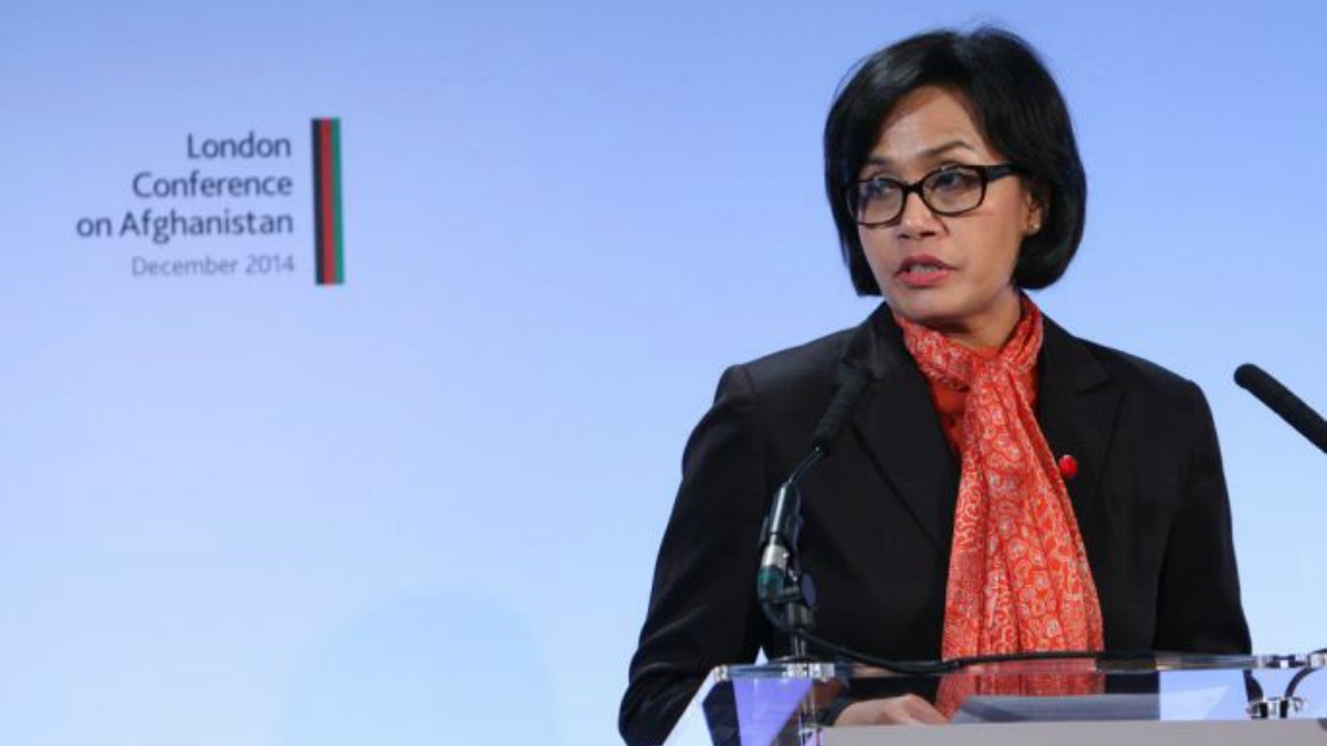 Sri Mulyani Indrawati speaking at a conference —Photo courtesy: Flickr
