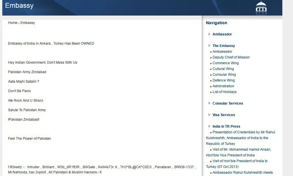 A screenshot of the Indian Embassy of India in Ankara's hacked website.